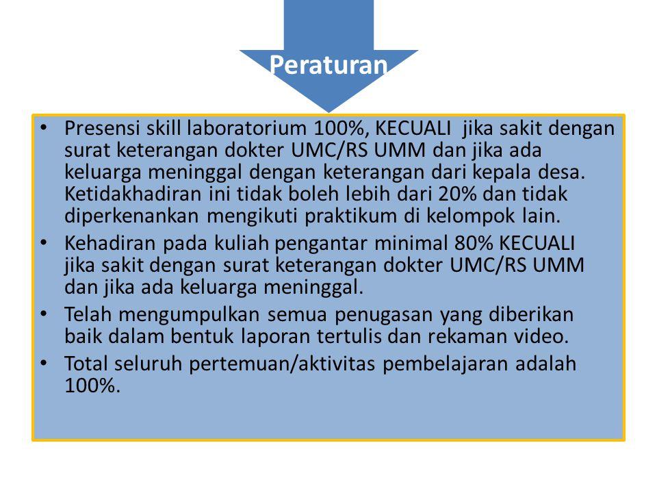 Peraturan • Presensi skill laboratorium 100%, KECUALI jika sakit dengan surat keterangan dokter UMC/RS UMM dan jika ada keluarga meninggal dengan kete