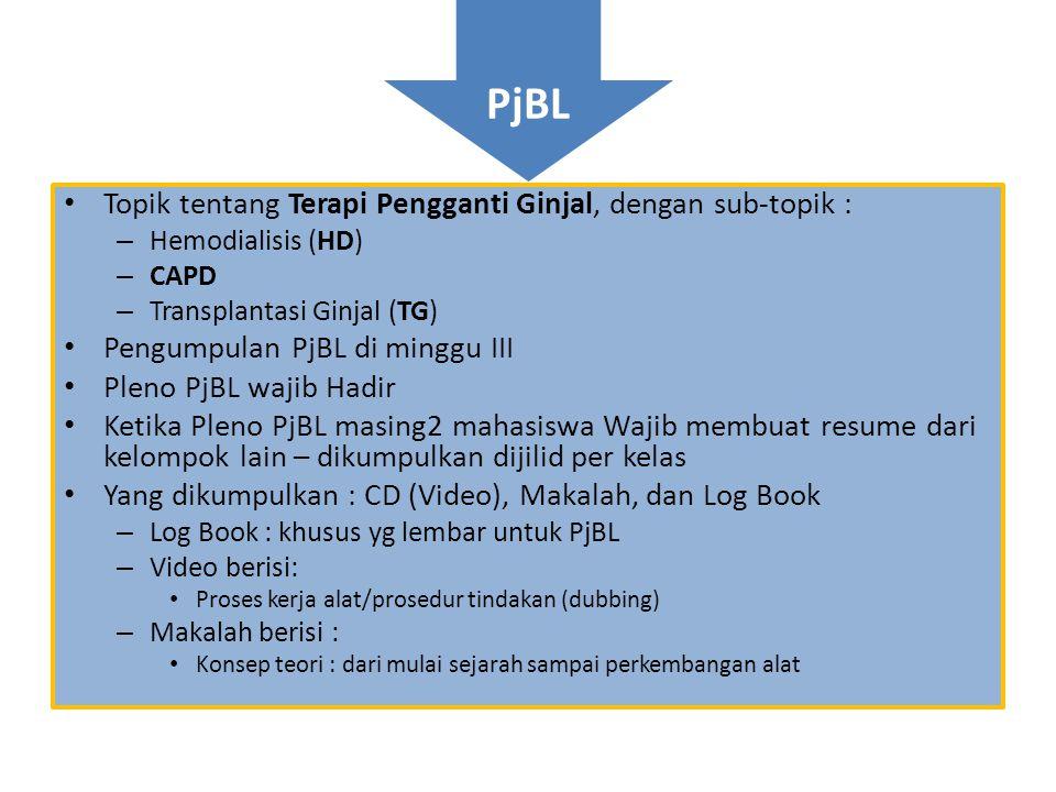PjBL • Topik tentang Terapi Pengganti Ginjal, dengan sub-topik : – Hemodialisis (HD) – CAPD – Transplantasi Ginjal (TG) • Pengumpulan PjBL di minggu I