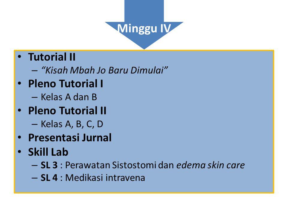 """Minggu IV • Tutorial II – """"Kisah Mbah Jo Baru Dimulai"""" • Pleno Tutorial I – Kelas A dan B • Pleno Tutorial II – Kelas A, B, C, D • Presentasi Jurnal •"""