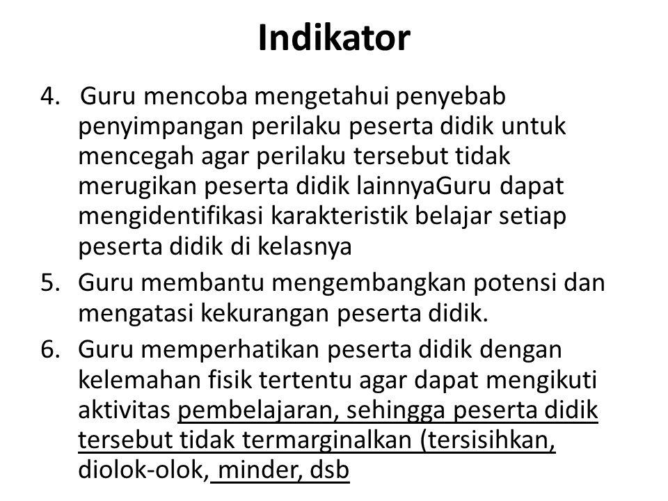 Indikator 4. Guru mencoba mengetahui penyebab penyimpangan perilaku peserta didik untuk mencegah agar perilaku tersebut tidak merugikan peserta didik