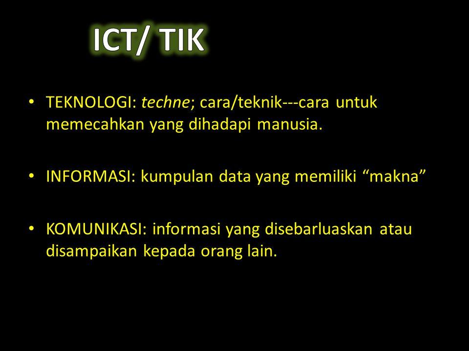 "• TEKNOLOGI: techne; cara/teknik---cara untuk memecahkan yang dihadapi manusia. • INFORMASI: kumpulan data yang memiliki ""makna"" • KOMUNIKASI: informa"