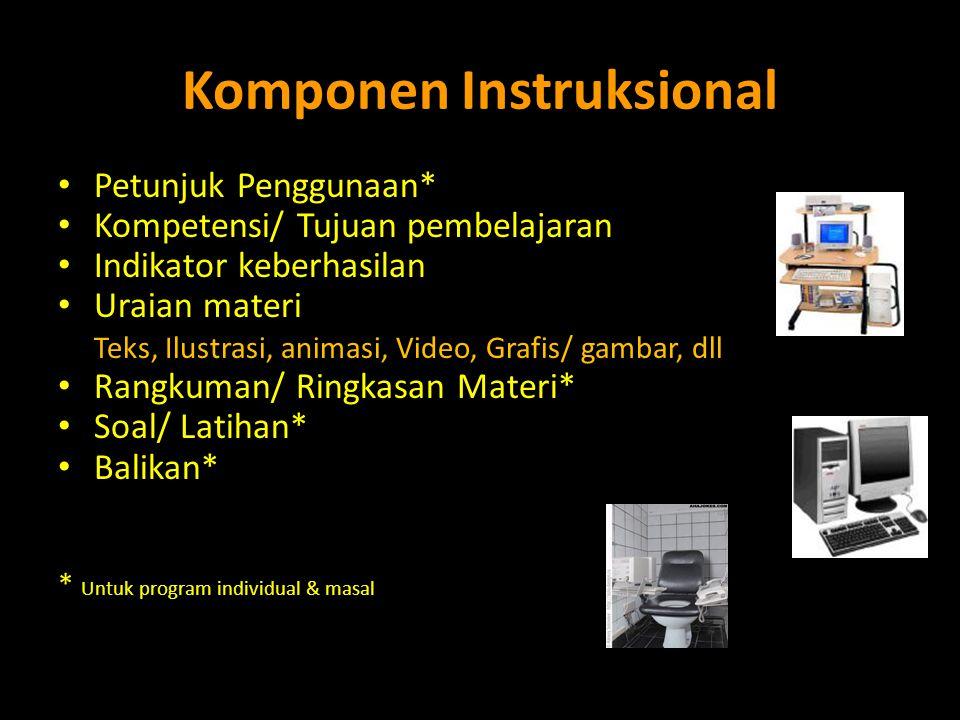 Komponen Instruksional • Petunjuk Penggunaan* • Kompetensi/ Tujuan pembelajaran • Indikator keberhasilan • Uraian materi Teks, Ilustrasi, animasi, Vid