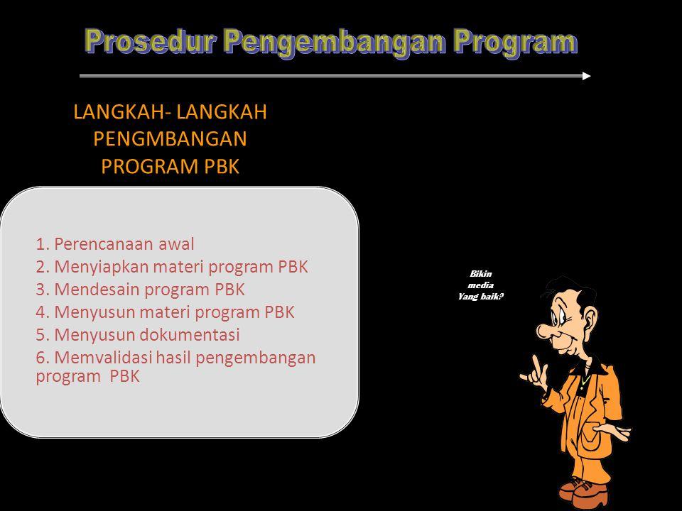 LANGKAH- LANGKAH PENGMBANGAN PROGRAM PBK 1. Perencanaan awal 2. Menyiapkan materi program PBK 3. Mendesain program PBK 4. Menyusun materi program PBK