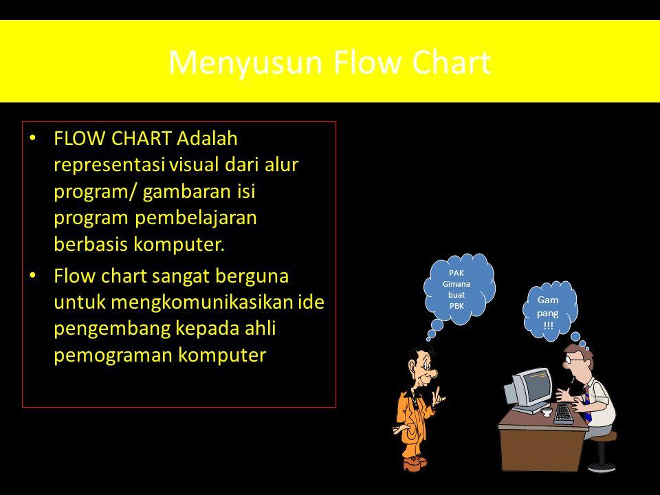 Menyusun Flow Chart • FLOW CHART Adalah representasi visual dari alur program/ gambaran isi program pembelajaran berbasis komputer. • Flow chart sanga