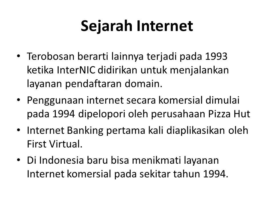 Sejarah Internet • Terobosan berarti lainnya terjadi pada 1993 ketika InterNIC didirikan untuk menjalankan layanan pendaftaran domain.