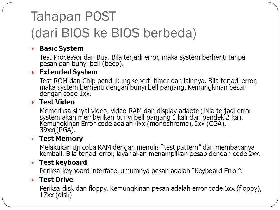 Tahapan POST (dari BIOS ke BIOS berbeda)  Basic System Test Processor dan Bus. Bila terjadi error, maka system berhenti tanpa pesan dan bunyi bell (b