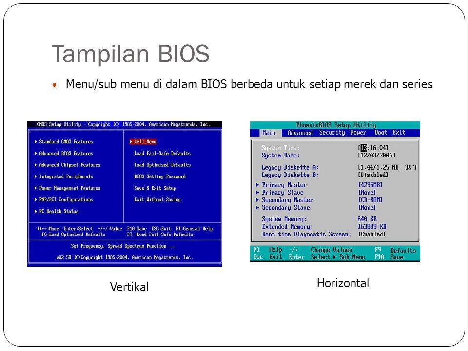 Tampilan BIOS  Menu/sub menu di dalam BIOS berbeda untuk setiap merek dan series Vertikal Horizontal