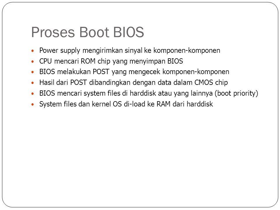Proses Boot BIOS  Power supply mengirimkan sinyal ke komponen-komponen  CPU mencari ROM chip yang menyimpan BIOS  BIOS melakukan POST yang mengecek