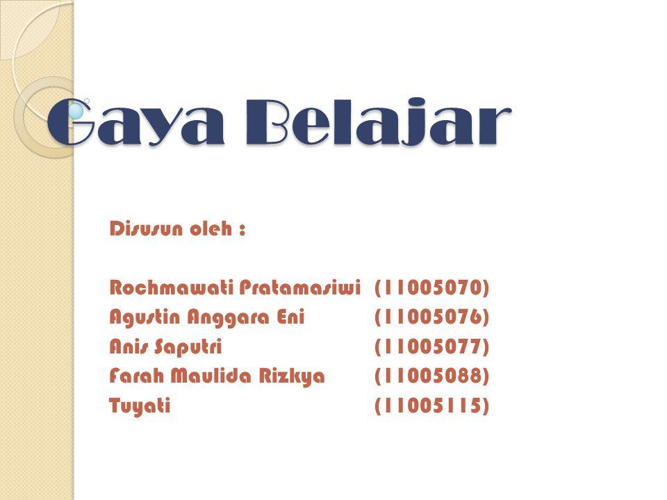 Gaya Belajar Disusun oleh : Rochmawati Pratamasiwi(11005070) Agustin Anggara Eni(11005076) Anis Saputri(11005077) Farah Maulida Rizkya(11005088) Tuyati(11005115)
