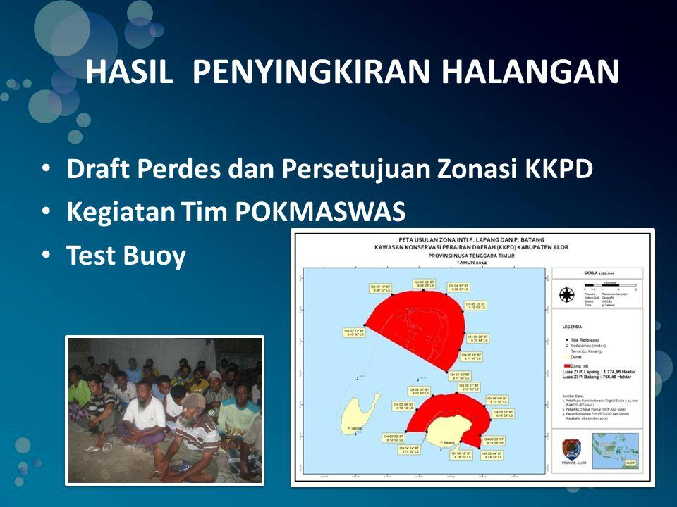 HASIL PENYINGKIRAN HALANGAN • Draft Perdes dan Persetujuan Zonasi KKPD • Kegiatan Tim POKMASWAS • Test Buoy
