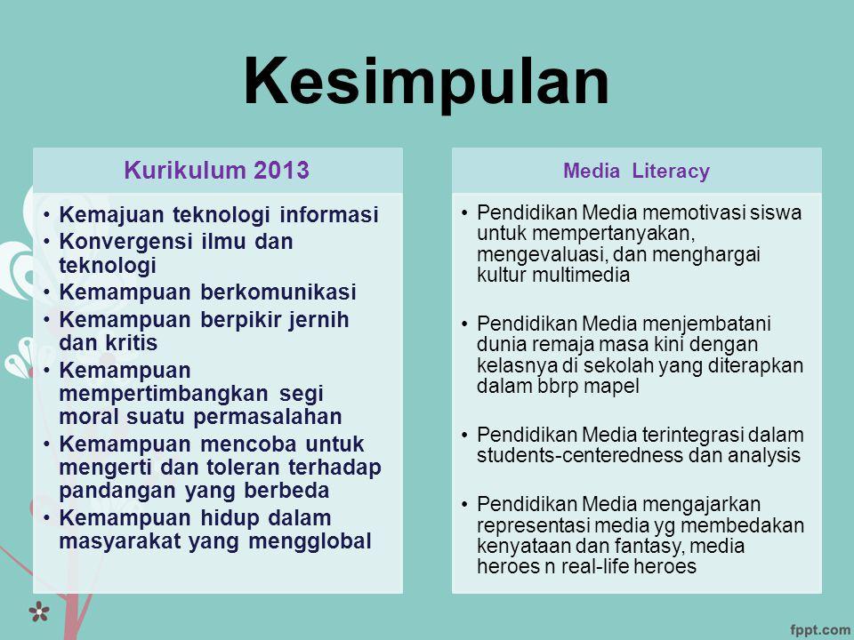 Kesimpulan Kurikulum 2013 •Kemajuan teknologi informasi •Konvergensi ilmu dan teknologi •Kemampuan berkomunikasi •Kemampuan berpikir jernih dan kritis
