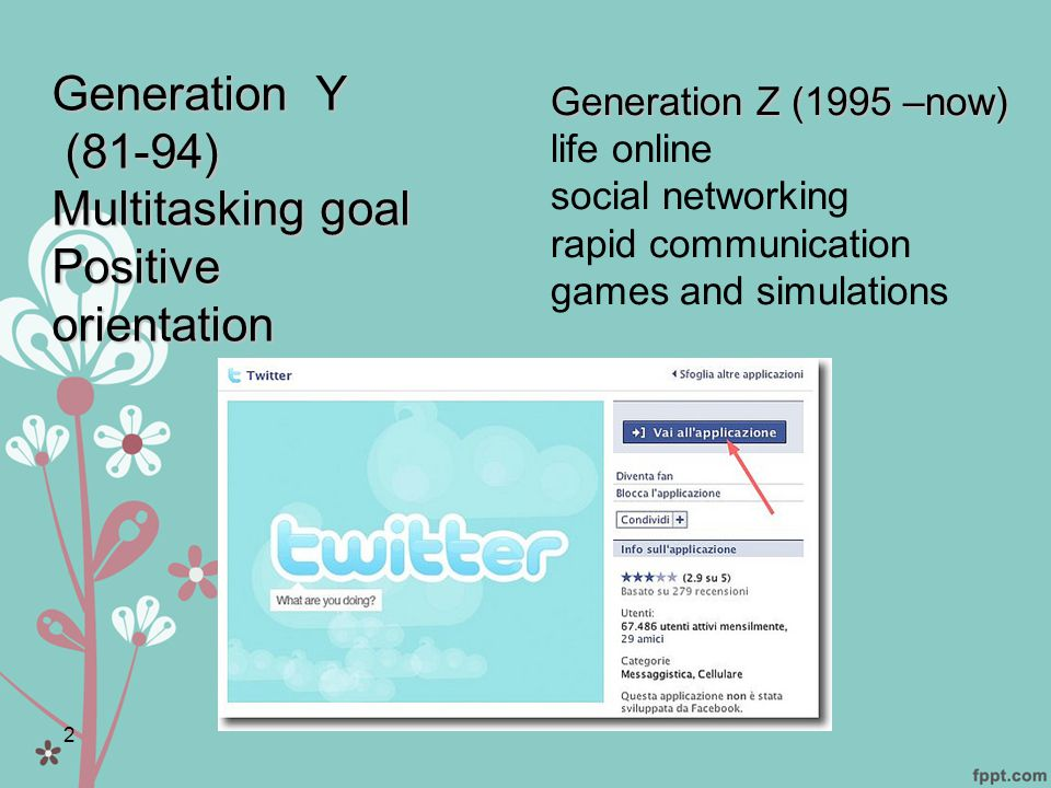 2 Generation Z (1995 –now) Generation Z (1995 –now) life online social networking rapid communication games and simulations Generation Y (81-94) (81-94) Multitasking goal Positive orientation