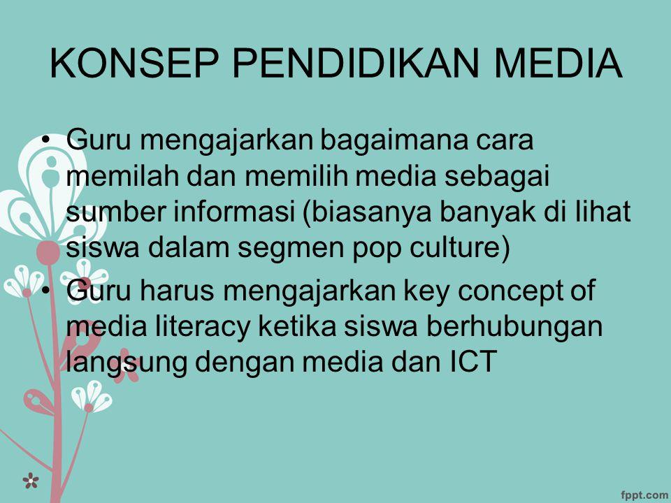 KONSEP PENDIDIKAN MEDIA •Guru mengajarkan bagaimana cara memilah dan memilih media sebagai sumber informasi (biasanya banyak di lihat siswa dalam segm