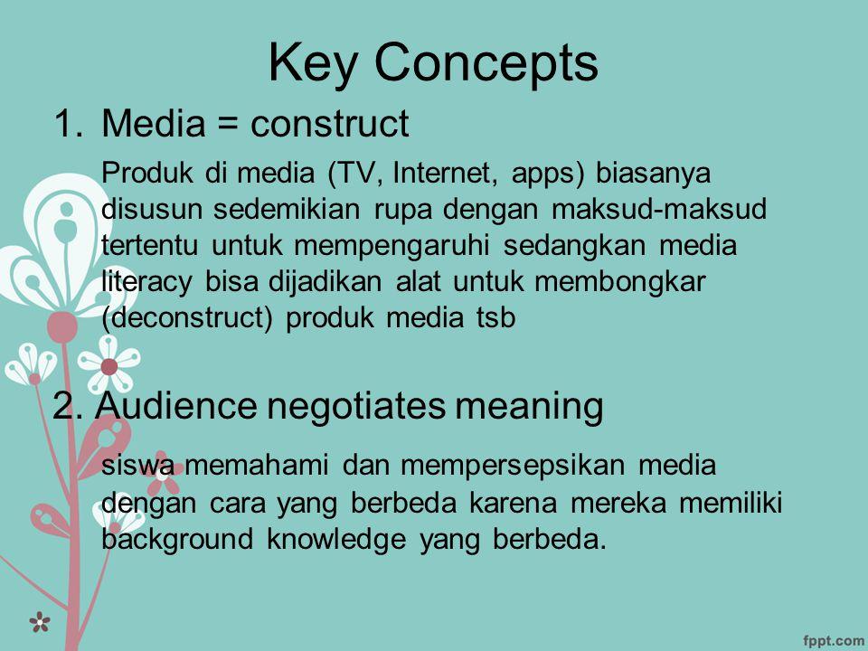Key Concepts 1.Media = construct Produk di media (TV, Internet, apps) biasanya disusun sedemikian rupa dengan maksud-maksud tertentu untuk mempengaruh
