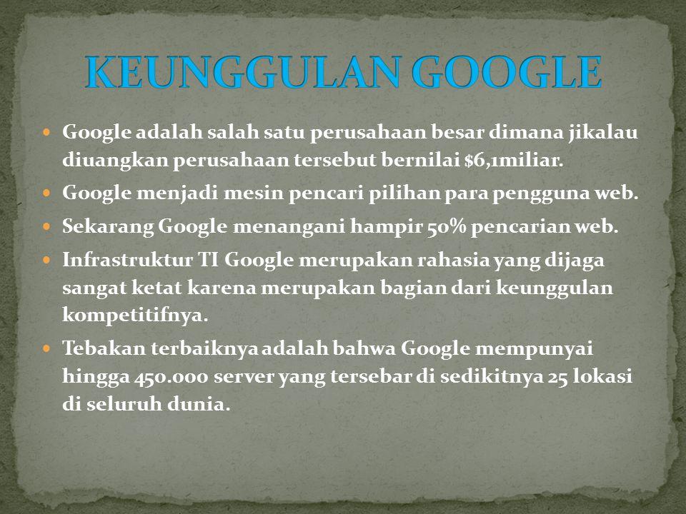  Keunggulan google dapat mengimbangi Microsoft walaupun awalnya hanya sebagai search engine tapi sekarang google yang telah berbasis web dan menjadi perusahaan piranti lunak, yang mampu merebut pasar yang didominasi oleh Microsoft.