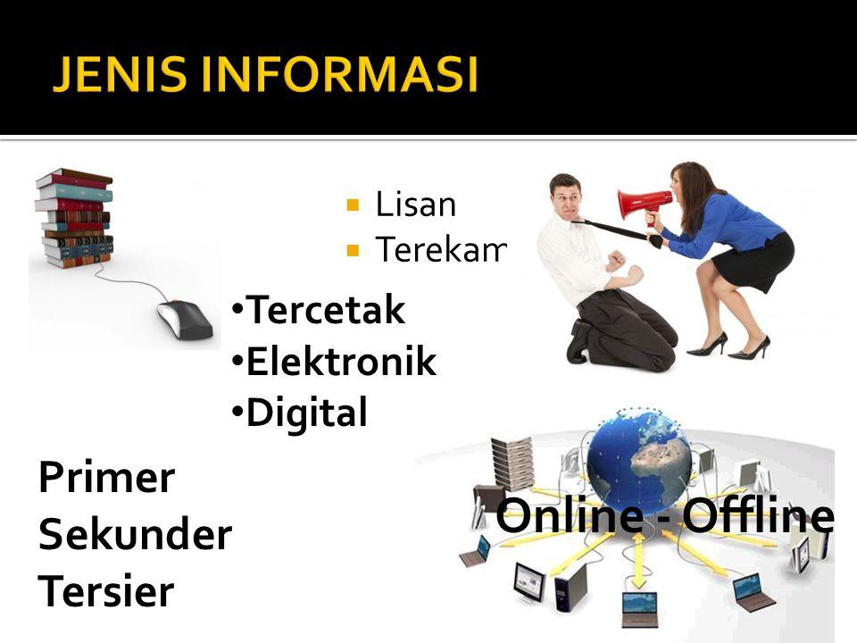  Lisan  Terekam • Tercetak • Elektronik • Digital Primer Sekunder Tersier Online - Offline