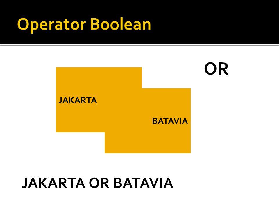JAKARTA BATAVIA OR JAKARTA OR BATAVIA