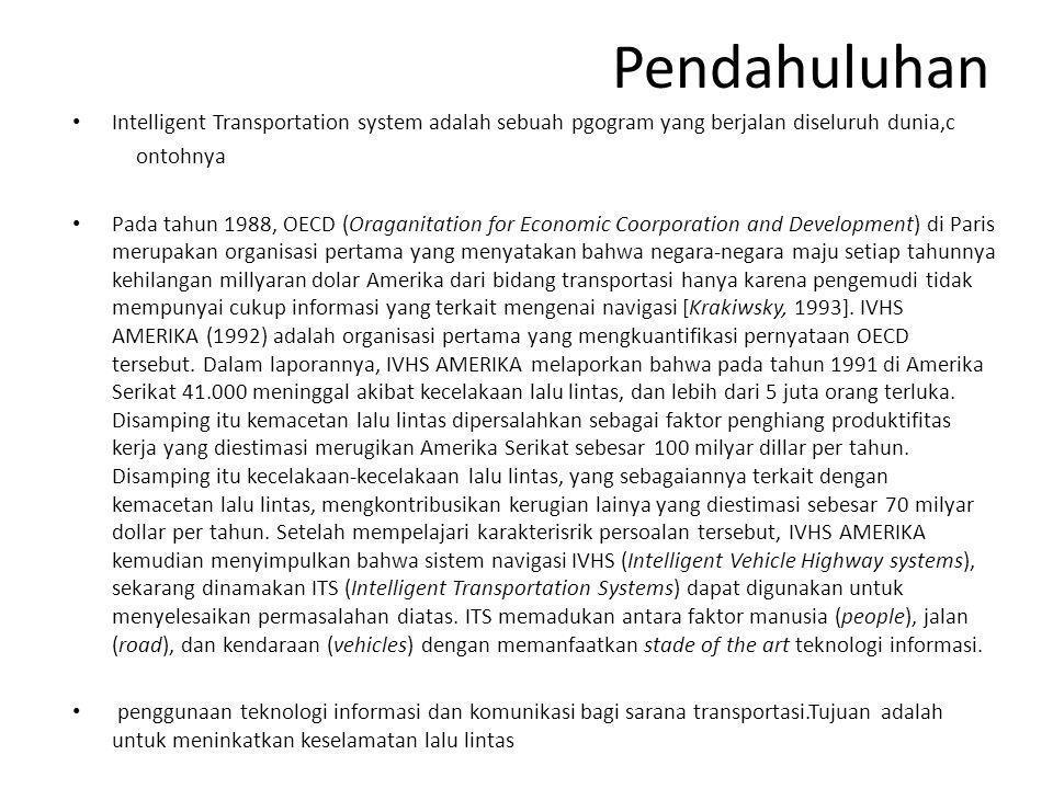 Pendahuluhan • Intelligent Transportation system adalah sebuah pgogram yang berjalan diseluruh dunia,c ontohnya • Pada tahun 1988, OECD (Oraganitation