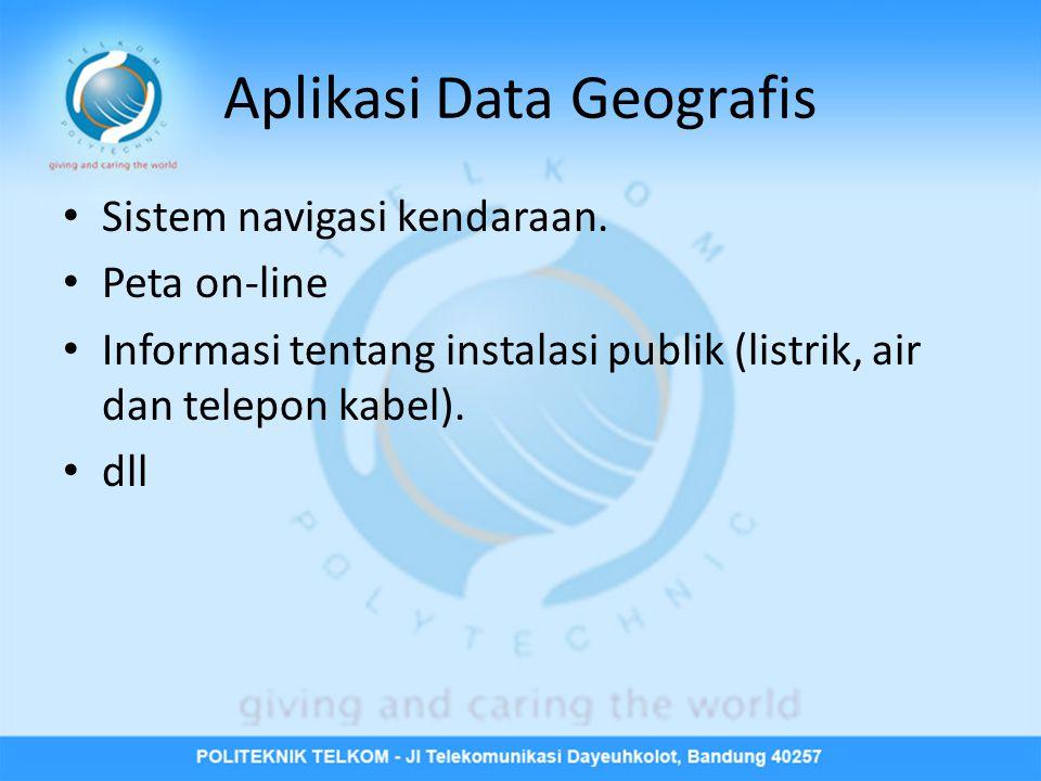 Aplikasi Data Geografis • Sistem navigasi kendaraan.
