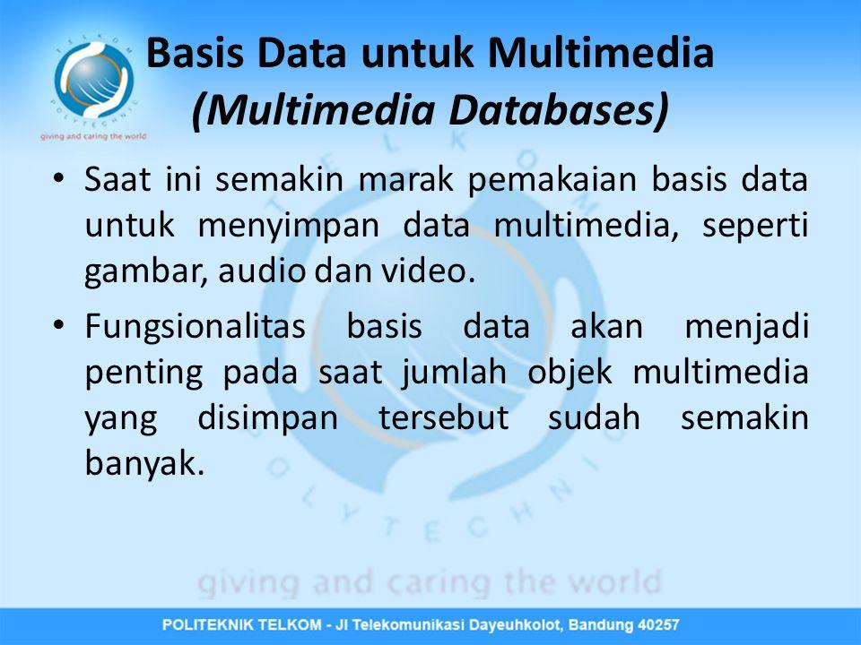 Beberapa isu yang harus diketahui jika data multimedia disimpan dalam sebuah basis data : • Basis data (dan DBMS) harus mendukung penyimpanan objekobjek yang besar.