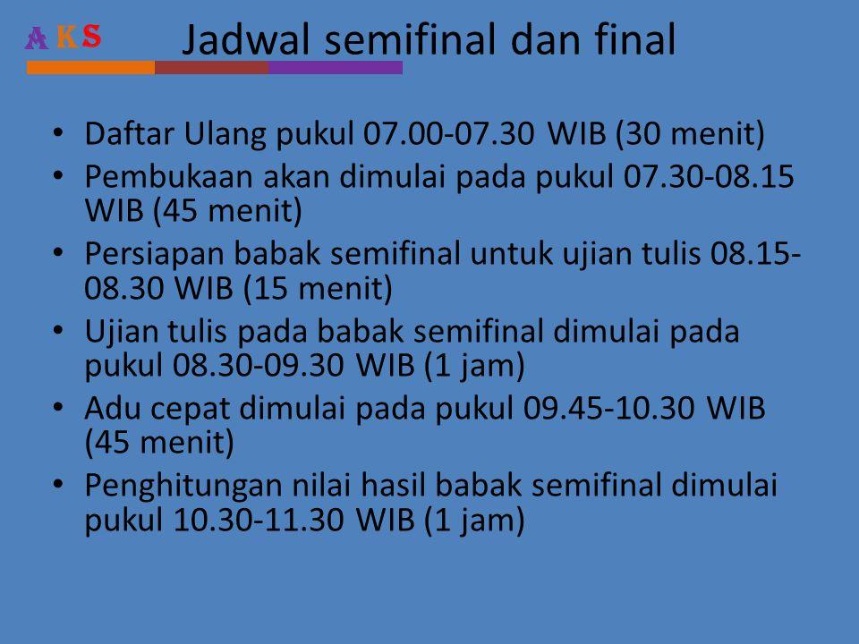 A KS Jadwal semifinal dan final • Daftar Ulang pukul 07.00-07.30 WIB (30 menit) • Pembukaan akan dimulai pada pukul 07.30-08.15 WIB (45 menit) • Persiapan babak semifinal untuk ujian tulis 08.15- 08.30 WIB (15 menit) • Ujian tulis pada babak semifinal dimulai pada pukul 08.30-09.30 WIB (1 jam) • Adu cepat dimulai pada pukul 09.45-10.30 WIB (45 menit) • Penghitungan nilai hasil babak semifinal dimulai pukul 10.30-11.30 WIB (1 jam)