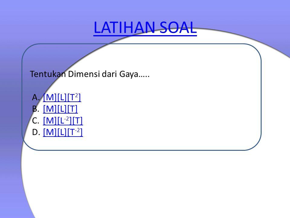 LATIHAN SOAL Tentukan Dimensi dari Gaya….. A.[M][L][T 2 ][M][L][T 2 ] B.[M][L][T][M][L][T] C.[M][L -2 ][T][M][L -2 ][T] D.[M][L][T -2 ][M][L][T -2 ]