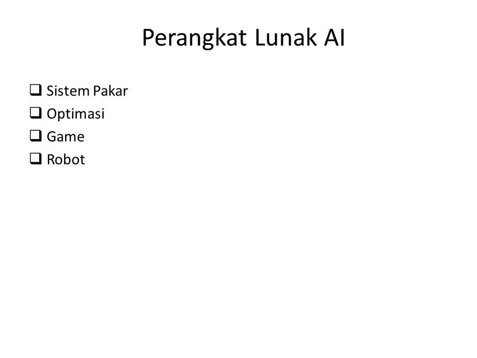 Perangkat Lunak AI qSistem Pakar qOptimasi qGame qRobot