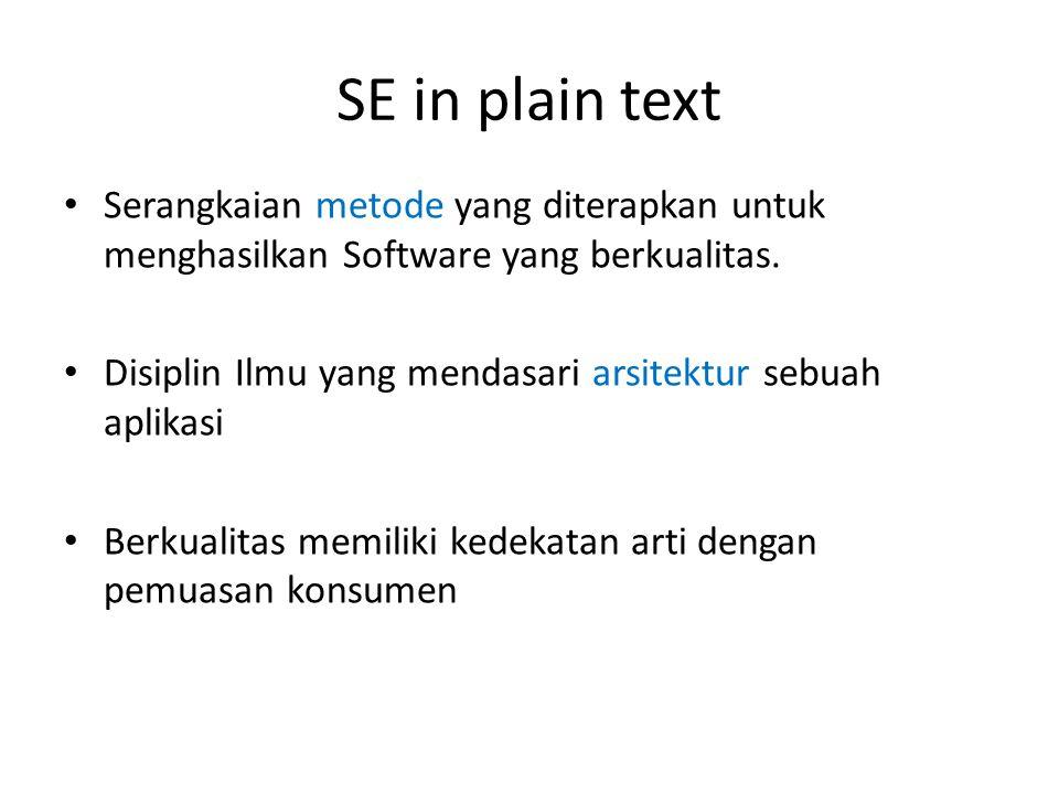 SE in plain text • Serangkaian metode yang diterapkan untuk menghasilkan Software yang berkualitas. • Disiplin Ilmu yang mendasari arsitektur sebuah a