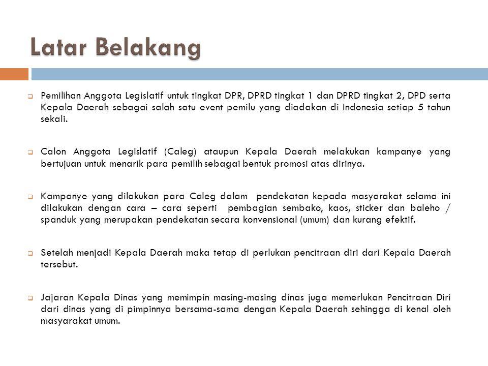  Pemilihan Anggota Legislatif untuk tingkat DPR, DPRD tingkat 1 dan DPRD tingkat 2, DPD serta Kepala Daerah sebagai salah satu event pemilu yang diadakan di Indonesia setiap 5 tahun sekali.