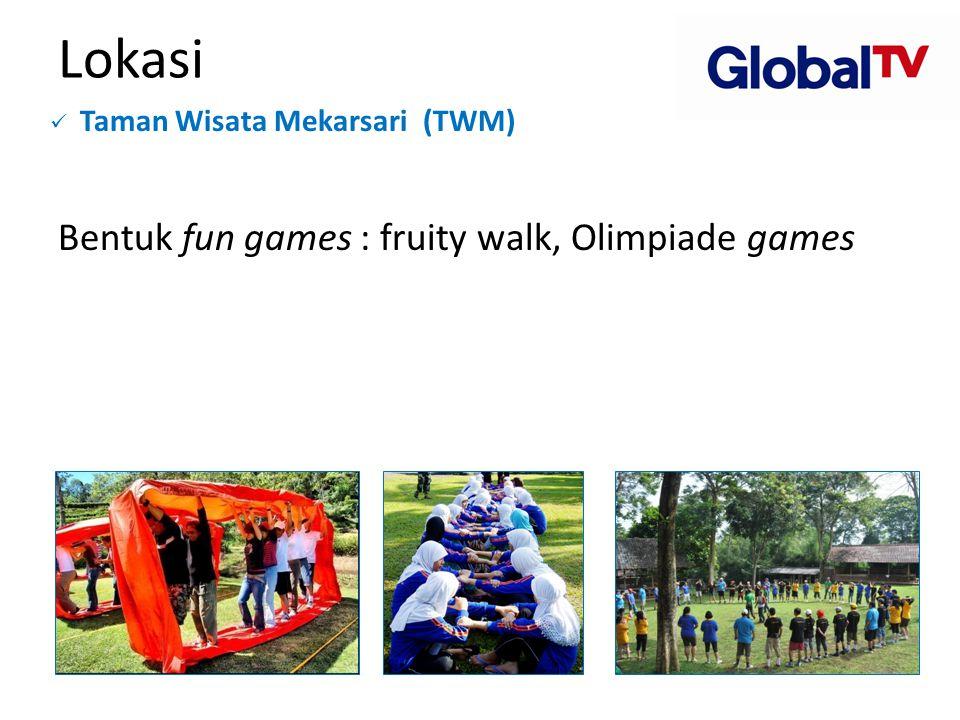 Lokasi  Taman Wisata Mekarsari (TWM) Bentuk fun games : fruity walk, Olimpiade games