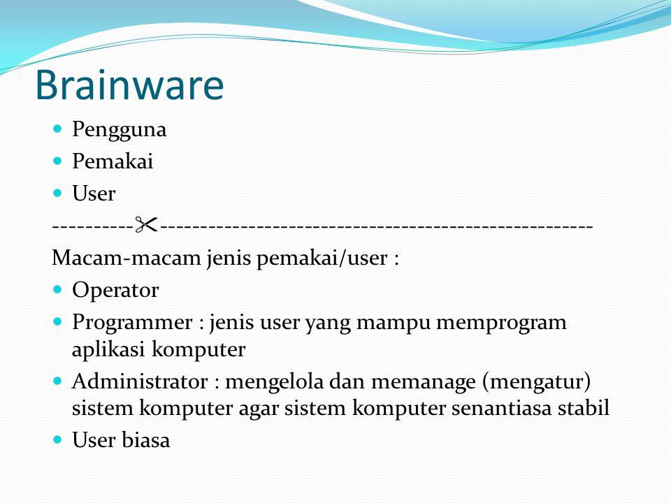 Brainware  Pengguna  Pemakai  User ----------  ------------------------------------------------------ Macam-macam jenis pemakai/user :  Operator