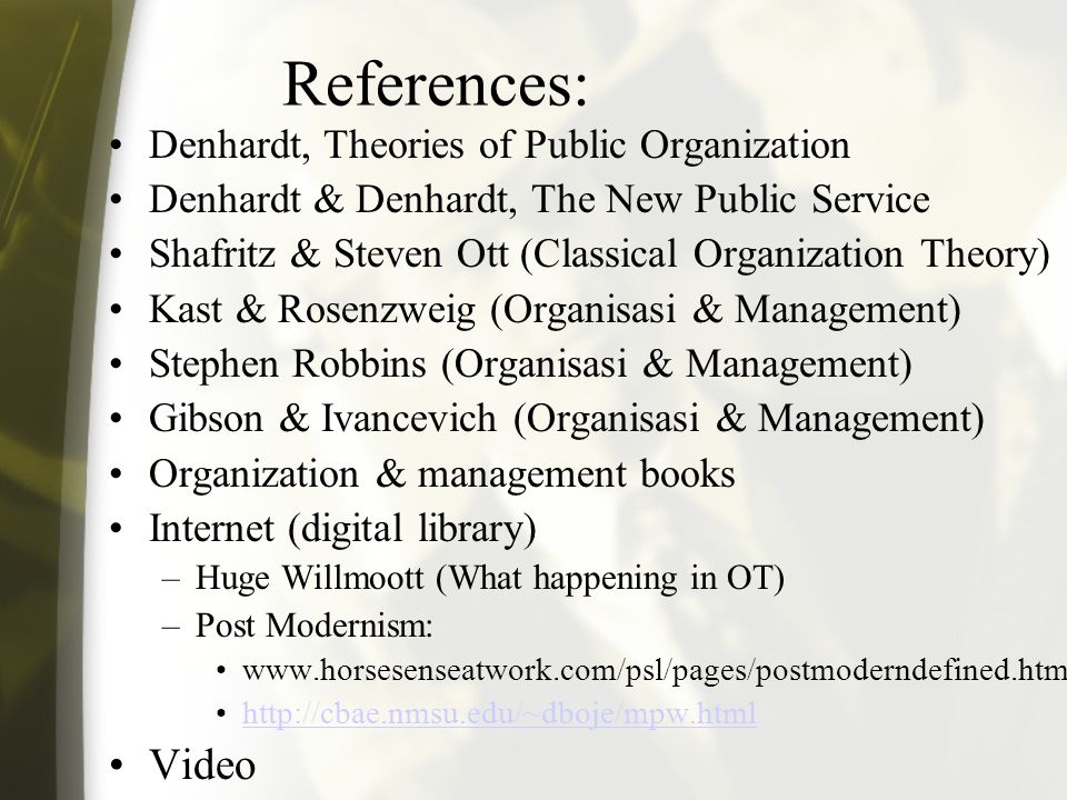 Diskusi di luar kelas •Bahas perkembangan teori organisasi 1.Klasik (10, 7, 11, 16, 9) – pertemuan 3 2.Neo klasik (6, 13, 14, 18, 1) --pertemuan 4 3.M