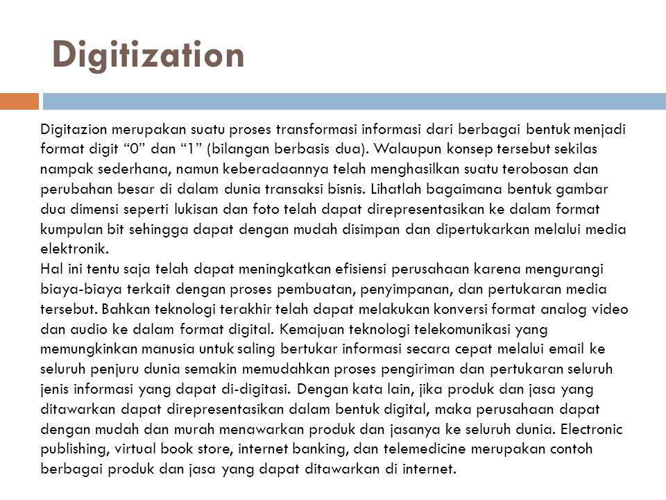 """Digitization Digitazion merupakan suatu proses transformasi informasi dari berbagai bentuk menjadi format digit """"0"""" dan """"1"""" (bilangan berbasis dua). W"""