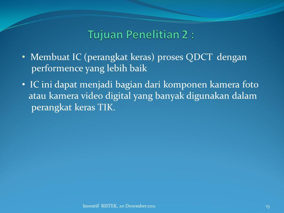 • Membuat IC (perangkat keras) proses QDCT dengan performence yang lebih baik • IC ini dapat menjadi bagian dari komponen kamera foto atau kamera video digital yang banyak digunakan dalam perangkat keras TIK.