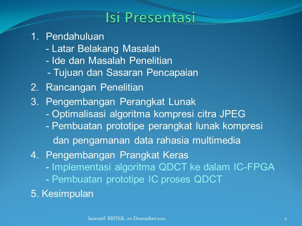 2Insentif RISTEK, 20 Desember 2011 1.Pendahuluan - Latar Belakang Masalah - Ide dan Masalah Penelitian - Tujuan dan Sasaran Pencapaian 2.Rancangan Penelitian 3.Pengembangan Perangkat Lunak - Optimalisasi algoritma kompresi citra JPEG - Pembuatan prototipe perangkat lunak kompresi dan pengamanan data rahasia multimedia 4.Pengembangan Prangkat Keras - Implementasi algoritma QDCT ke dalam IC-FPGA - Pembuatan prototipe IC proses QDCT 5.