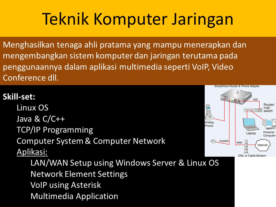 Skill-set: Linux OS Java & C/C++ TCP/IP Programming Computer System & Computer Network Aplikasi: LAN/WAN Setup using Windows Server & Linux OS Network Element Settings VoIP using Asterisk Multimedia Application Teknik Komputer Jaringan Menghasilkan tenaga ahli pratama yang mampu menerapkan dan mengembangkan sistem komputer dan jaringan terutama pada penggunaannya dalam aplikasi multimedia seperti VoIP, Video Conference dll.
