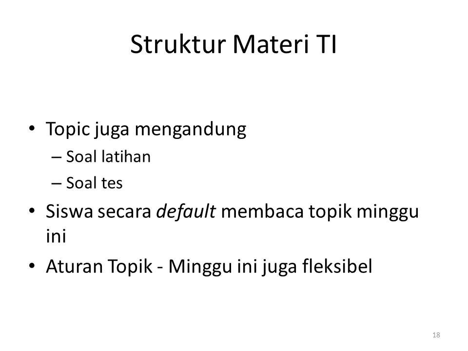 18 Struktur Materi TI • Topic juga mengandung – Soal latihan – Soal tes • Siswa secara default membaca topik minggu ini • Aturan Topik - Minggu ini juga fleksibel