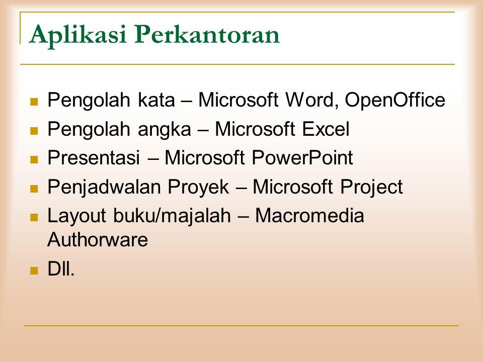 Aplikasi Perkantoran  Pengolah kata – Microsoft Word, OpenOffice  Pengolah angka – Microsoft Excel  Presentasi – Microsoft PowerPoint  Penjadwalan
