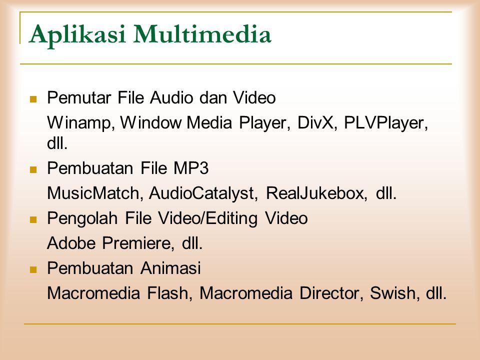 Aplikasi Multimedia  Pemutar File Audio dan Video Winamp, Window Media Player, DivX, PLVPlayer, dll.  Pembuatan File MP3 MusicMatch, AudioCatalyst,
