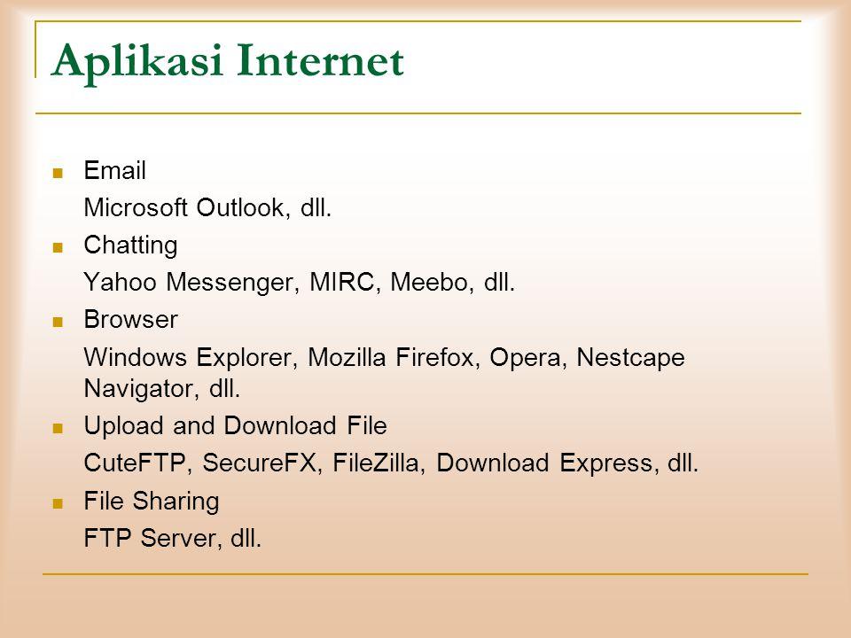 Aplikasi Internet  Email Microsoft Outlook, dll.  Chatting Yahoo Messenger, MIRC, Meebo, dll.  Browser Windows Explorer, Mozilla Firefox, Opera, Ne