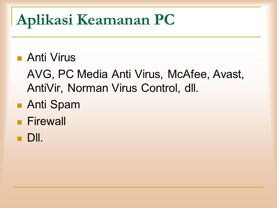 Aplikasi Keamanan PC  Anti Virus AVG, PC Media Anti Virus, McAfee, Avast, AntiVir, Norman Virus Control, dll.  Anti Spam  Firewall  Dll.
