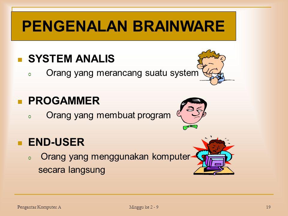 Pengantar Komputer A Minggu ke 2 - 9 19  SYSTEM ANALIS o Orang yang merancang suatu system  PROGAMMER o Orang yang membuat program  END-USER o Oran