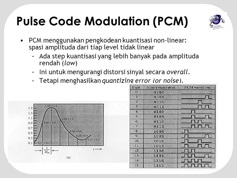 •Teorema sampling Nyquist menjamin sample data mengandung semua informasi dari sinyal orisinal •Frekuensi voice (speech) berada dibawah 4000Hz •Membutuhkan 8000 sample per detik •Sistem telepon dapat mendigitalisasi voice dengan 128 level atau 256 level.