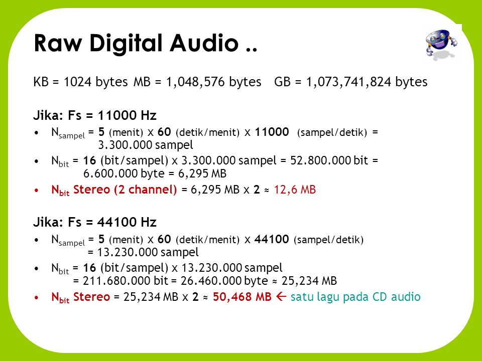 Raw Digital Audio •AUDIO: a sequence of microphone readings on several channels. •Readings (samples) are normally taken at 11000, 22K or 44K per secon