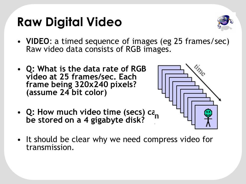 Sinyal Video Digital •Sinyal video digital adalah kumpulan citra digital (disebut frame) yang di 'tayangkan' secara berurut menurut indeks waktu.