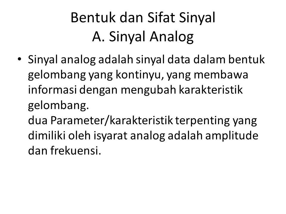 Bentuk dan Sifat Sinyal A. Sinyal Analog • Sinyal analog adalah sinyal data dalam bentuk gelombang yang kontinyu, yang membawa informasi dengan mengub