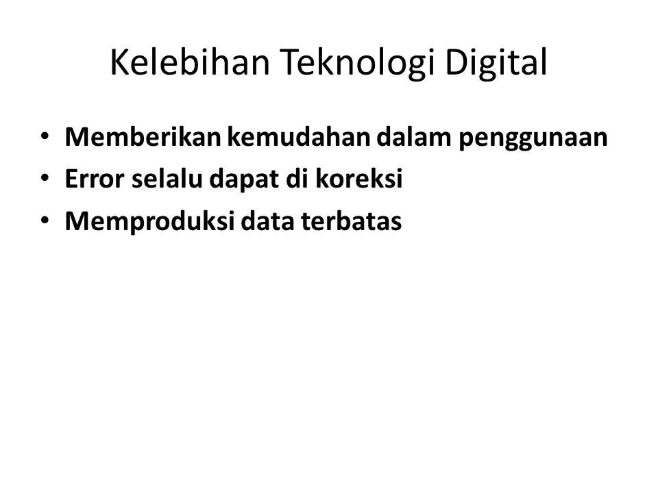 Kelebihan Teknologi Digital • Memberikan kemudahan dalam penggunaan • Error selalu dapat di koreksi • Memproduksi data terbatas