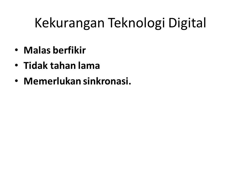 Kekurangan Teknologi Digital • Malas berfikir • Tidak tahan lama • Memerlukan sinkronasi.