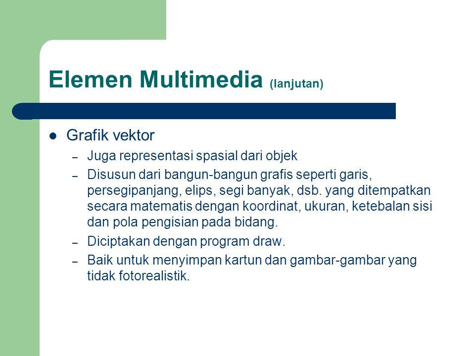 Elemen Multimedia (lanjutan)  Grafik vektor – Juga representasi spasial dari objek – Disusun dari bangun-bangun grafis seperti garis, persegipanjang,