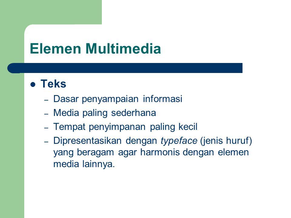 Elemen Multimedia  Teks – Dasar penyampaian informasi – Media paling sederhana – Tempat penyimpanan paling kecil – Dipresentasikan dengan typeface (j